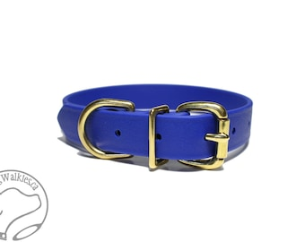 "Biothane Dog Collar / Royal Blue 1"" (25mm) Wide Beta Biothane - Leather Look and Feel - Adjustable Custom Size - Stainless or Brass Hardware"