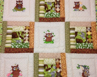 Owl embroidered baby quilt, green brown blanket, baby owl quilt, ready to ship