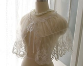 Great Gatsby Victorian Wedding Cape Romantic Off White Ivory Lace Sheer Cape Poncho Shawl Top Darling bolero shrug Gypsy