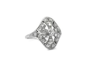 The Deco Genevieve Ring - Platinum Art Deco Diamond Filigree Ring