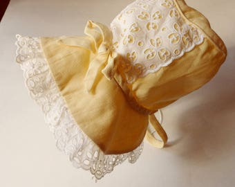 Baby's Yellow Bonnet with White Eyelet Lace, Yellow Sunbonnet with Lace Ruffle