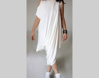 Asymmetric Cut Shoulder Dress Tunic /Asymmetric Caftan Off Shoulder Short Sleeves Dress /White  Italian Jersey Caftan Dress/ Loose Drape Top