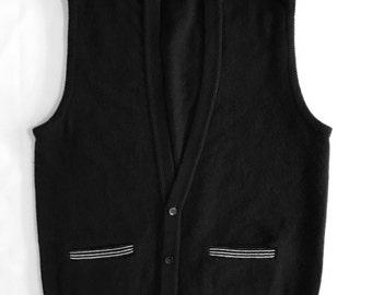JANTZEN Sweater Vest Vintage 1950's 1960's Solid Black Knit Vest Lambswool  Mens Size Large