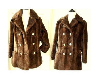 "Deadstock NWT 70's ""Sears Fashion"" Plush Brown Faux Fur Coat Double Breasted Jacket"