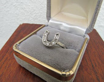 Horseshoe Ring Vintage Silver Ring Southwestern Boho Size 6 Western Ring Sterling Silver and Rhinesone