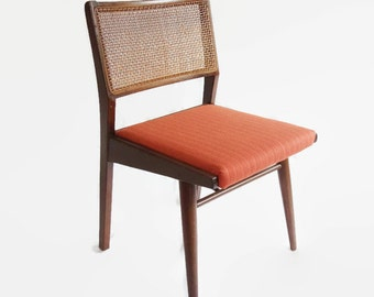Four Vintage Danish Modern Dining Chairs, Mid Century Chairs, Risom Style Walnut Cane Back Chairs