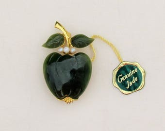 Vintage jade apple pin with pearls, nephrite jade and pearl apple brooch