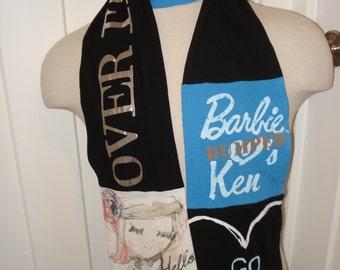 T-Shirt Scarf:  Dumped Him, whimsical scarf, long & soft scarf, machine washable, wearable fiber art, ooak gift, Barbie doll, break up
