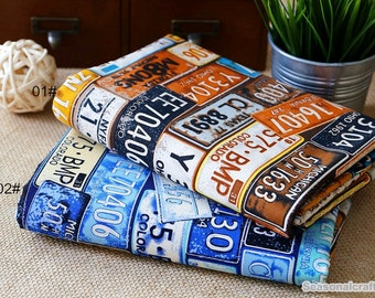 Vintage plate number Cotton Canvas Fabric, Thick Heavy burliness Canvas,Printing dyeing Colorful pattern Canvas Fabric 1/2 Yard (QT1094)