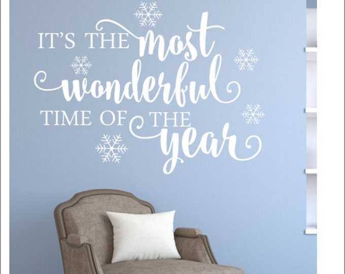 Christmas Wall Decal Holiday Decals It's The Most Wonderful Time of the Year Wall Vinyl Christmas Decor Decal for Chalkboard Snowflake Decal