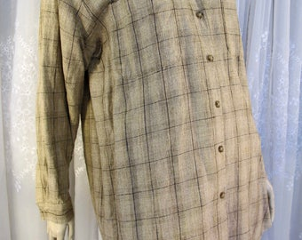 Vintage 90's women's Chaus lightweight linen and cotton casual being brown plaid skirt jacket M