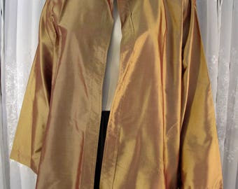 Vintage 90's women's custom sewn copper colored silk blouse jacket L