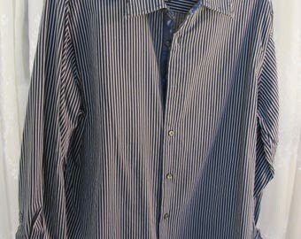 Vintage 90's men's black and gray stripe LS cotton blend no iron shirt L