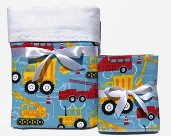Baby Boy Gift Set - Baby Boy Flannel Blanket - Baby Burp Cloth - Baby Shower Gifts - Firefighter Baby - Swaddle Blanket - Receiving Blanket