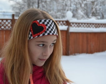 Houndstooth Heart Headband, fits tween girls teens adults red white hearts cotton black check plaid fabric fleece applique Mod Kitschy