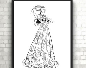 lady margaret peyton portraits coloring pages for adults pdf printable