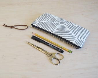 Zipper Pouch, Pencil Case in Web - Zip Pouch, Cosmetic Clutch, Phone Wallet, Zipper Clutch, Bridesmaid Gift