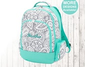 Grey Paisley Backpack, Monogrammed Backpack, Personalized Backpack, Girls Backpack, Kids Backpack, Elementary School Backpack