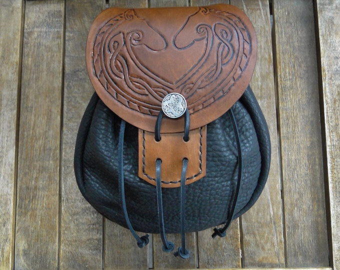Horse Lord Leather Sporran, Medieval Pouch, Renaissance Belt Bag, Tooled - Deluxe