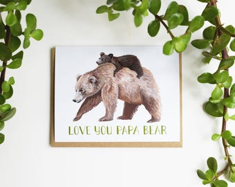 Papa Bear Card - Father's Day Love Card - Grizzyly Bear Baby Piggy Back Card