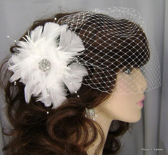 Bridal Hair Clip, White Feather Fascinator, Bridal Accessory, REX123