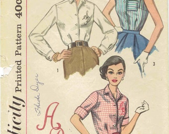 50s Button Front Blouse Pattern Simplicity 2195. Sleeveless or Long/Short Sleeves with Cuffs Monogram Transfers Included. Size 16 Bust 36 in