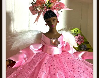 Pastel Pink Angel Tree Topper, Christmas Angel in Pink, African American Angel TreeTop, One of a Kind Black Angel in Pink