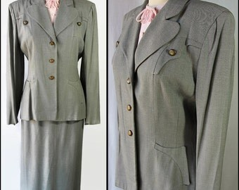 40s 50s Suit Embellished Jacket Skirt Gray Reenactment Costume