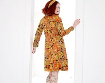 Vintage orange paisley dress, mod, L XL 1960s 1970s