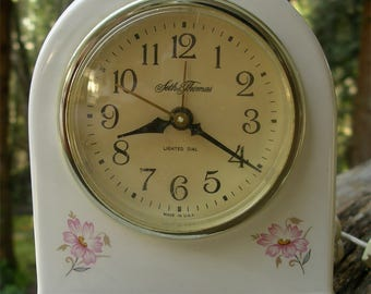 Vintage Seth Thomas Electric Alarm Clock - 1980s White Ceramic Time Piece - Pretty Floral Clock for Bedside Table Vanity - Made in Georgia