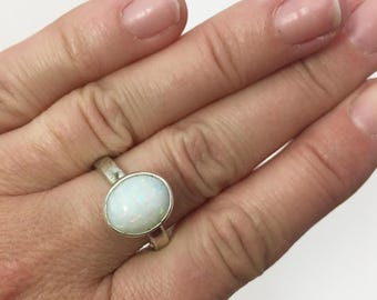 White Opal and Sterling Silver Cocktail Statement Ring - One of a Kind