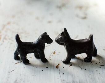Vintage Bronze Scottie Dog / Dogs Animal Paperweights