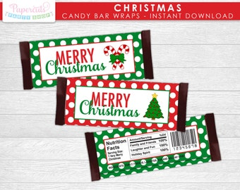 Christmas Theme Candy Bar Wrappers | Merry Christmas | Red & Green | Non-Personalized | Printable DIY Digital File | INSTANT DOWNLOAD