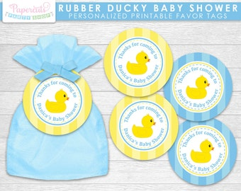 rubber ducky theme baby shower favor tags blue yellow it 39 s a bo