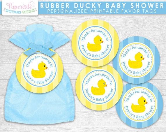 Rubber Ducky Theme Baby Shower Favor Tags Blue Amp Yellow