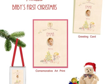 Baby's First Christmas Retro Personalized Photo Card Art Print Ornament Printable SET Baby's Picture here Custom Digital Downloads