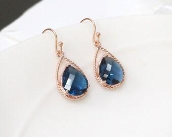 Blue dangle earring, blue sapphire earring, Rose gold earring, september birthstone earring, Wedding rose gold earring, bridesmaid gift,navy