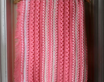1960s crocheted baby afghan / handmade baby blanket in cotton candy pink, beige & white / Vintage fringed baby blanket /  receiving blanket