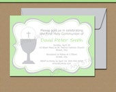 First Communion Invitation Template - 1st Communion Invitations - PRINTABLE First Holy Communion Invites - Green and Gray Invitations