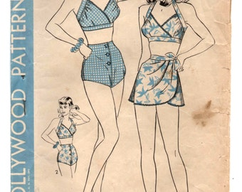 """1940's Hollywood Two Piece Swimsuit Pattern - Bust 34"""" - No. 1341"""