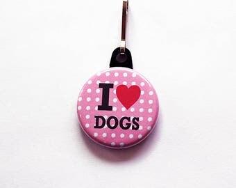 I Love Dogs zipper pull, Dog zipper pull, zipper pull, purse charm, dog charm, Dog Lover, zipper charm, stocking stuffer, pink (7480)