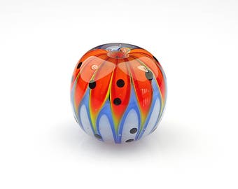 Orange and Blue Lampwork Glass Pod Focal Bead