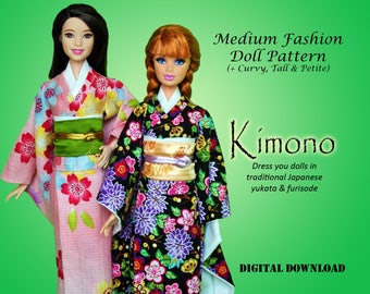 "Japanese Kimono Dress Clothes pattern for Barbie Tall Curvy Petite Classic, Disney Princess, and other 11.5"" Medium Fashion Dolls"