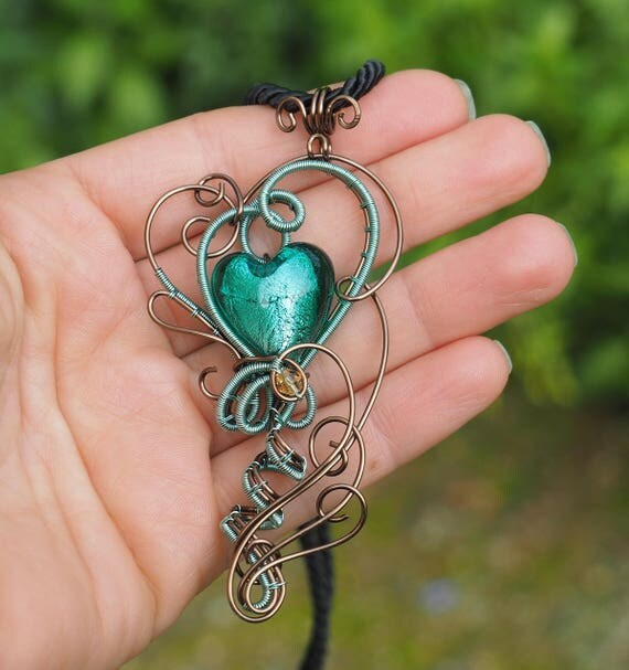Mint Green Heart necklace ~ Wire wrapped ~ Handmade