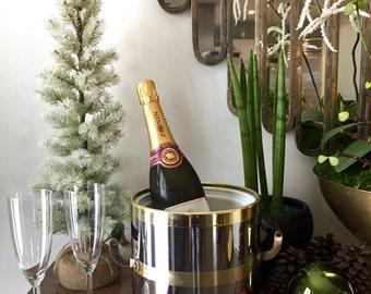 Vintage Ice Bucket / Champagne Bucket / Mid Century Ice Bucket / Silver and Brass Ice Bucket / Glam Champagne Bucket