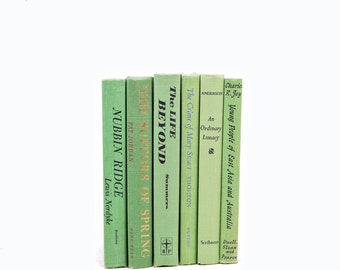 Lime Green Decorative Books, Antique Book Set, Book Collection, Book Decoration Book shelf Decor, Old Books, Instant Library, Book Stack