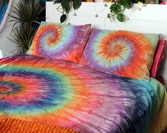 Tie Dye Duvet Set - Hippie Bedding - Rainbow Bedding - Egyptian Cotton - RAINBOW SWIRL R