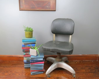 Good Form Office Chair // Vintage Mid Century Aluminum Swivel Desk Chair  Industrial Style Metal