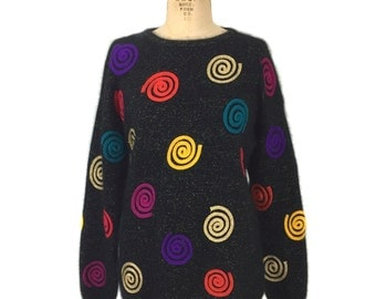 vintage 1980s rainbow swirl sweater / Rafaella / angora blend / furry sweater / women's vintage sweater / tag size medium