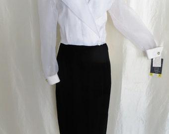 80s womens formal dress, long black white velvet maxi, sheer long sleeve, fancy party holiday dress,